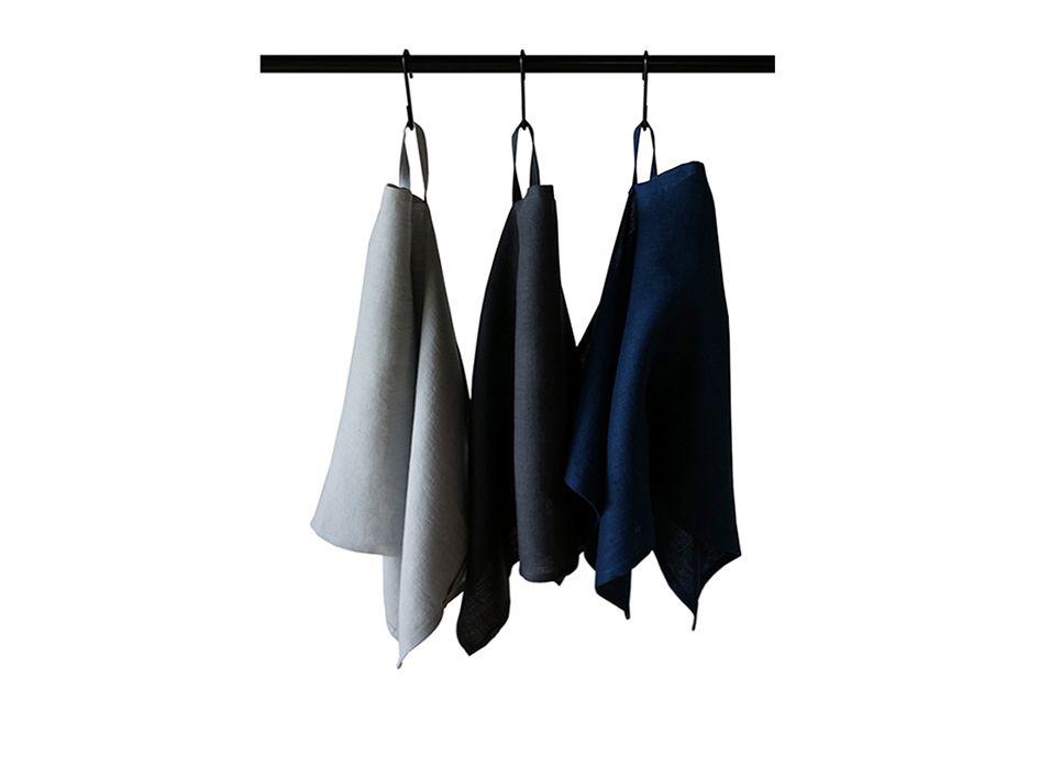 Blue, dove grey and charcoal soft linen tea towels set of three