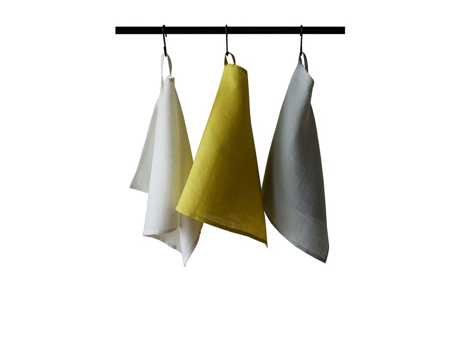 Off white, mustard and dove grey colour linen  towels