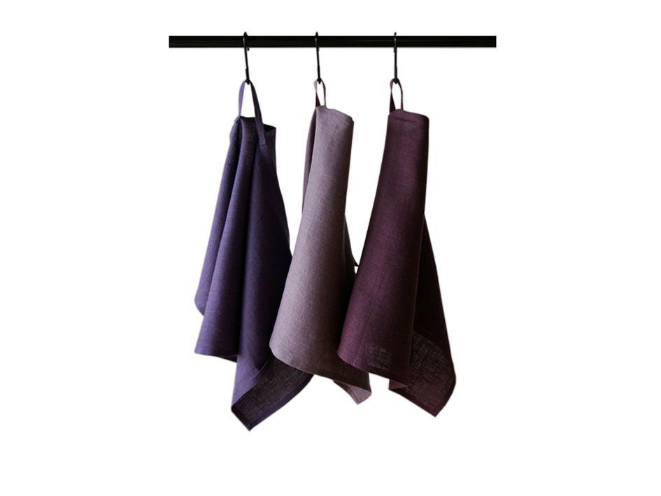 Violet linen tea towels set