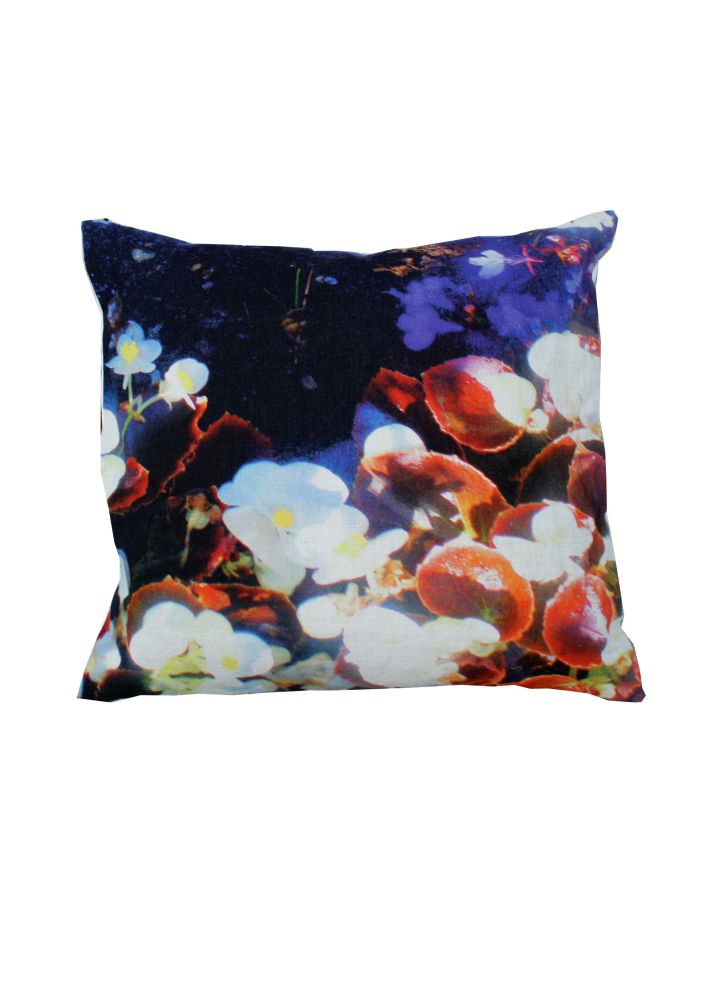 Luminous Lily & Violet Square Cushion by Suzanne Goodwin