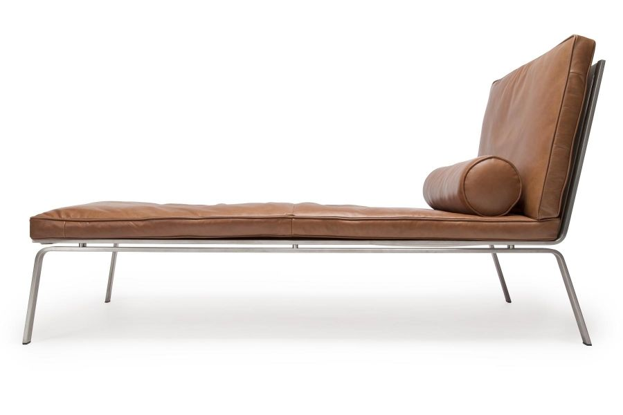Man chaise longue cognac brown premium leather by norr11 for Brown chaise longue