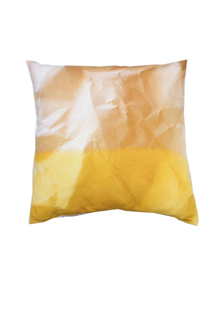 Mello Yellow Crinkled Paper Print Square Cushion by Suzanne Goodwin