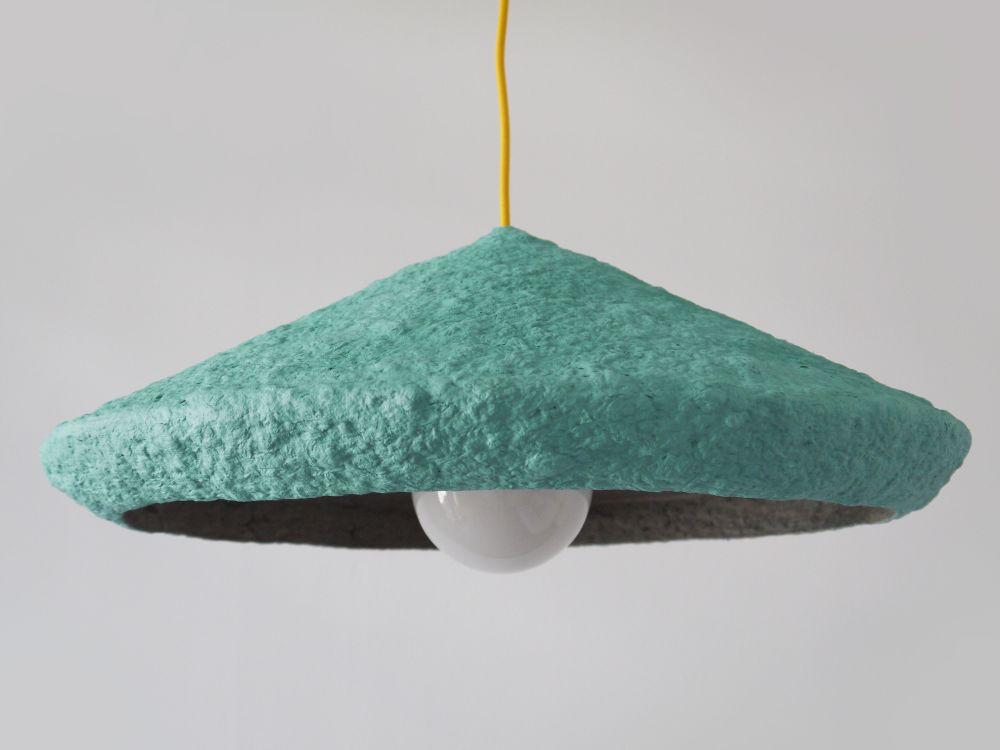 Paper pulp pendant lamp Mizuko Green by Crea-Re Studio