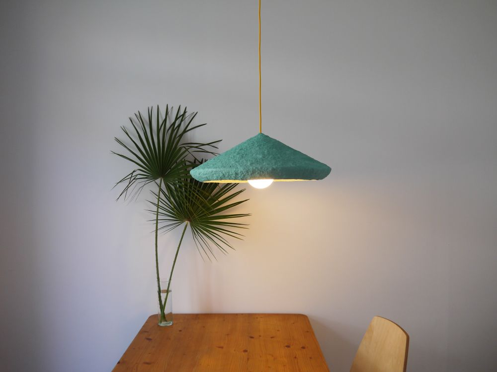Paper pulp pendant lamp mizuko green mizuko green by crea re studio mizuko is a name of a series of lamps made from paper mache mizuko in japan means daughter of water the minimalistic shape and light weight of the lamp mozeypictures Choice Image