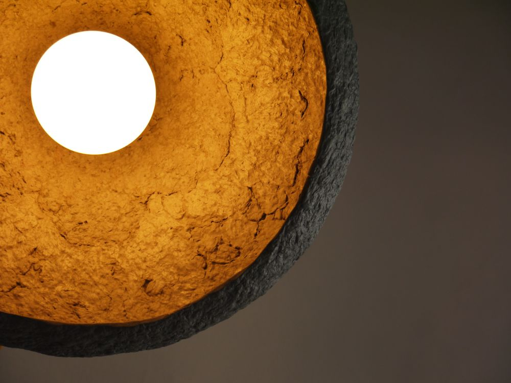 Paper pulp pendant lamp Mizuko Grey by Crea-Re Studio