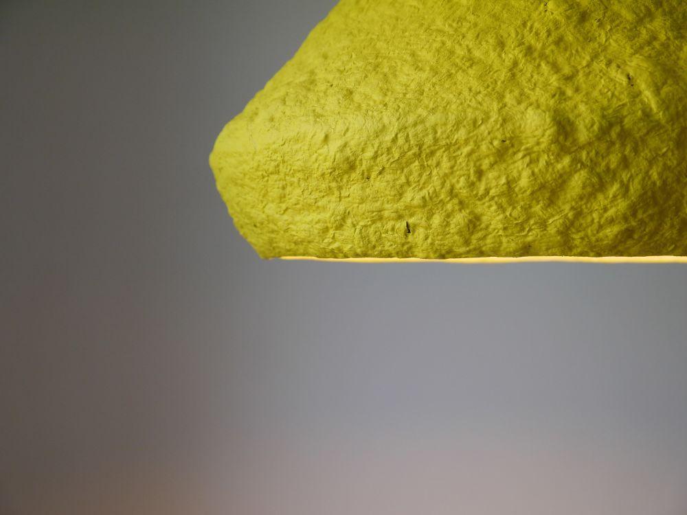 Paper pulp pendant lamp Mizuko Yellow by Crea-Re Studio