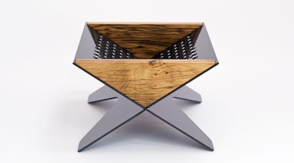 Reclaimed Oak Log Basket Holder by Jam Furniture