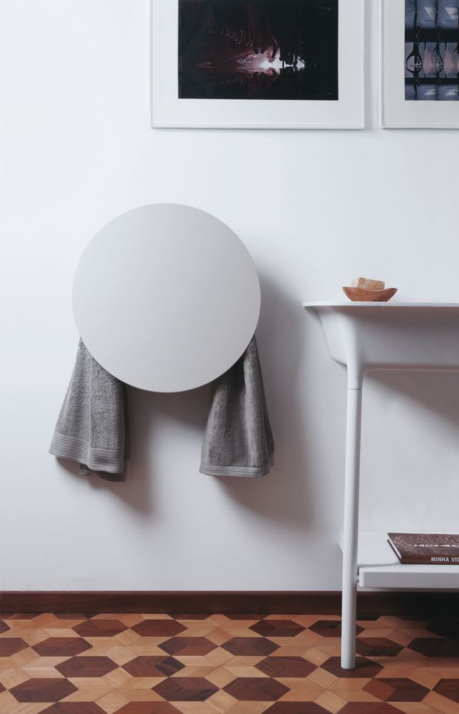 Decorative Towel Warmers : Round towel warmer white by mg for