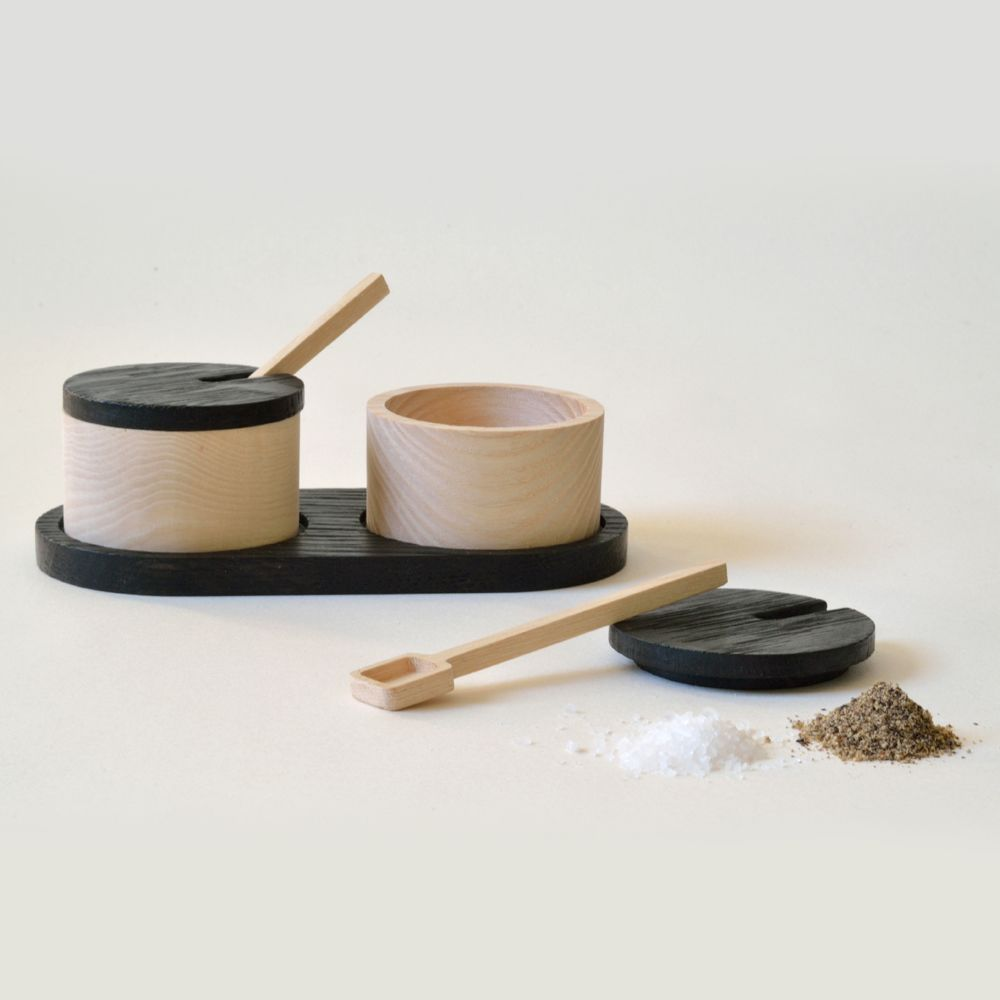 A Pair Of Ash Salt And Pepper Bowls With Ash Spoons And Charred Oak Lids  And Tray