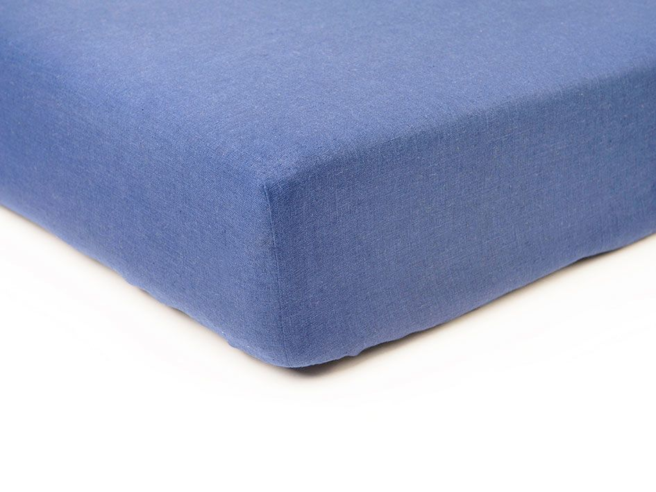 Serenity blue linen fitted sheet