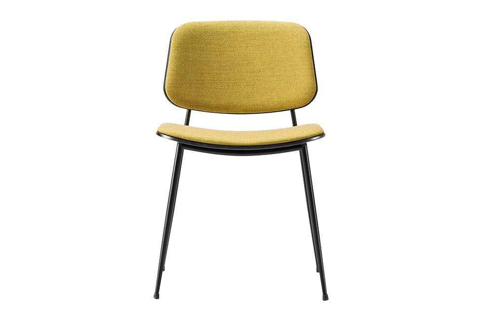 Soborg chair, steel frame, back and seat upholstered by Fredericia