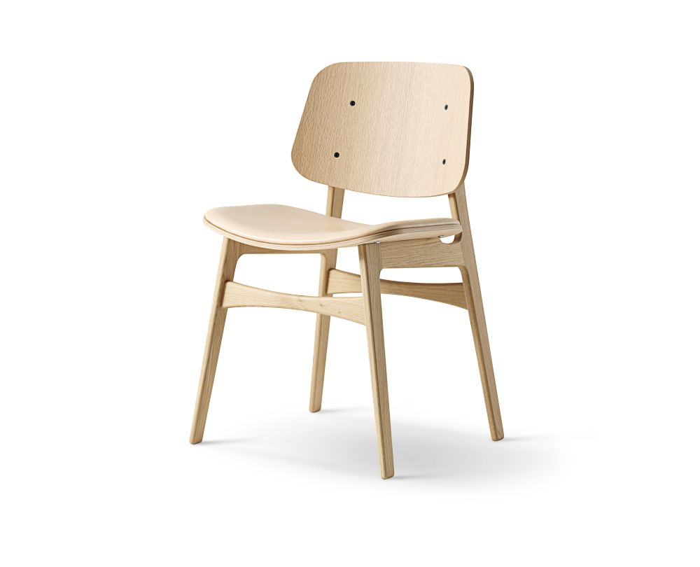 Soborg chair, wooden frame, seat upholstered by Fredericia