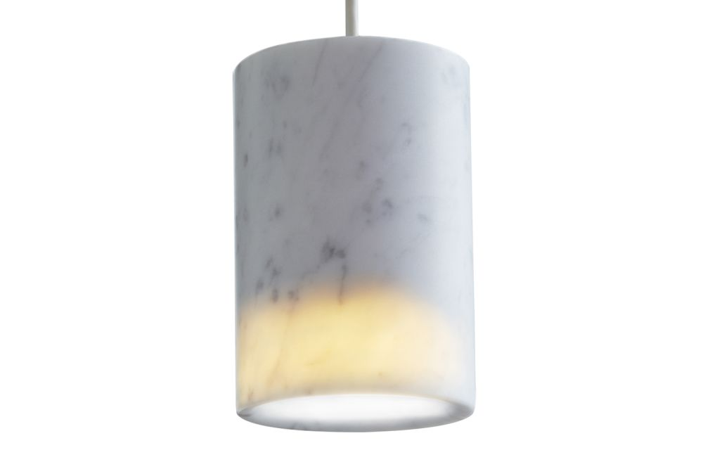 Solid Cylinder Pendant Light Carrara Marble By Terence