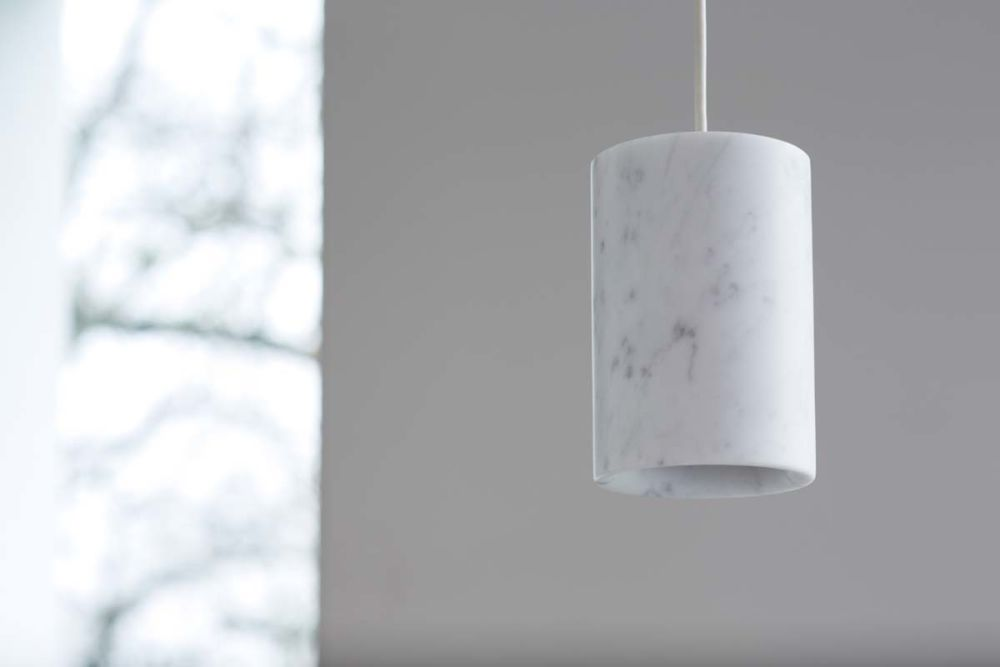 Solid cylinder pendant light carrara marble by terence woodgate view more images aloadofball Choice Image