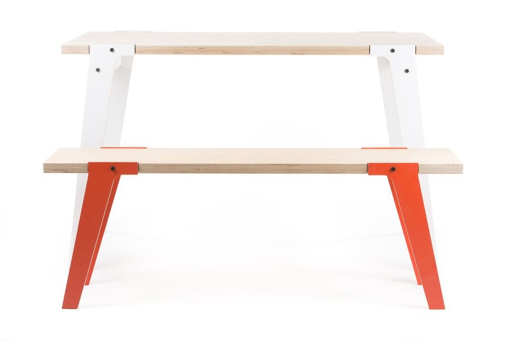 rform Switch Bench 03 - Foxy Orange with rform Switch Table - Snow White in background