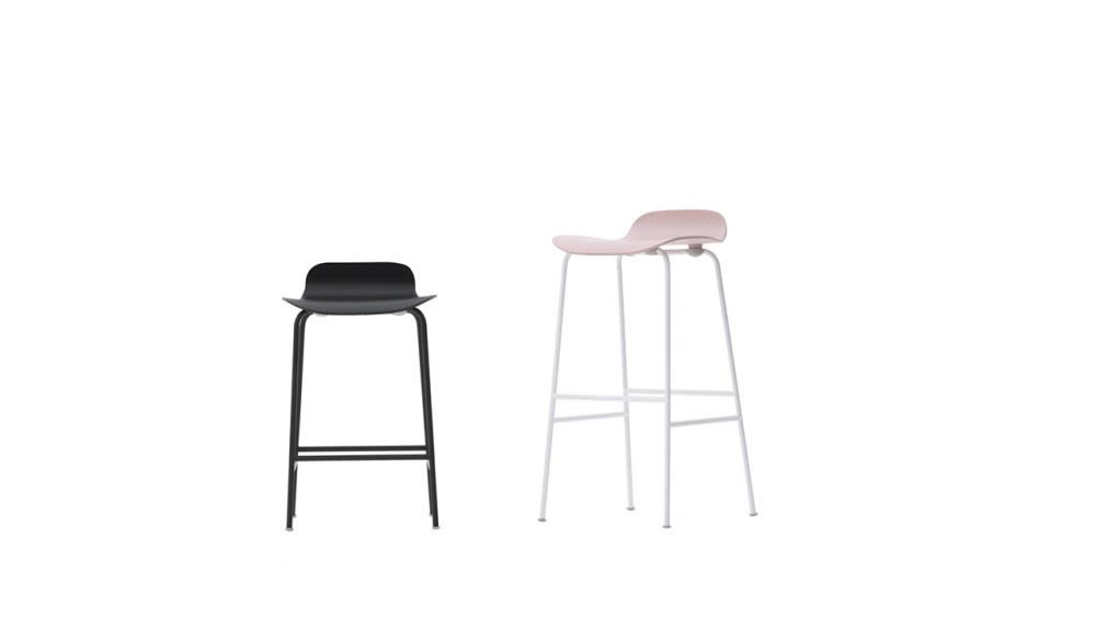 Tate Colour Stool With Low Backrest by Cappellini