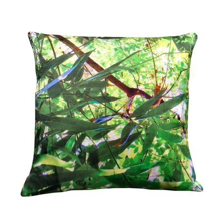 Tropical Multi Leaf Print Square Cushion by Suzanne Goodwin