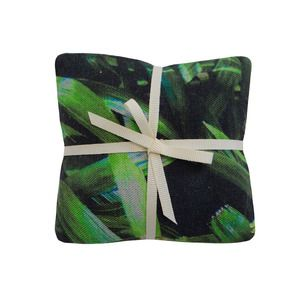 Tropical Multi Leaf & Zingy Palm Print Lavender Cushions by Suzanne Goodwin
