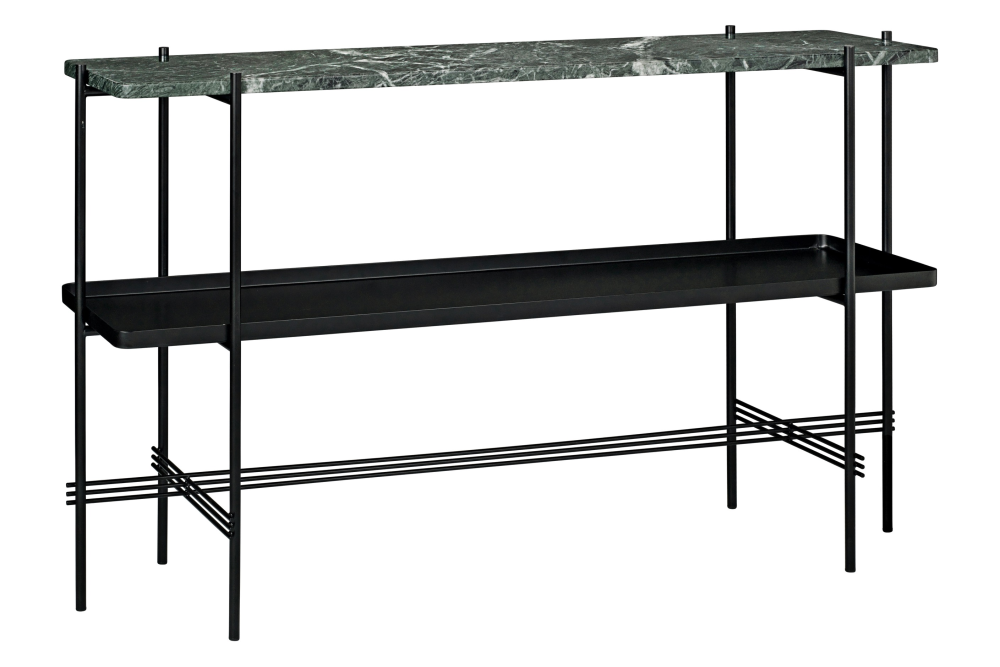 TS Rectangular Console Table with One Marble Plate and One Metal Tray by Gubi