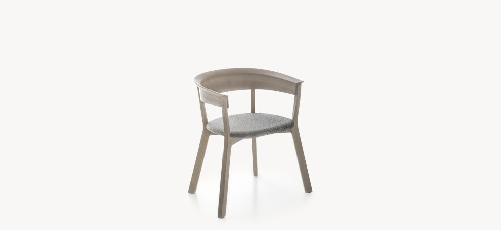 Wood Bikini Dining Chair with seat upholstered, back in wood by Moroso