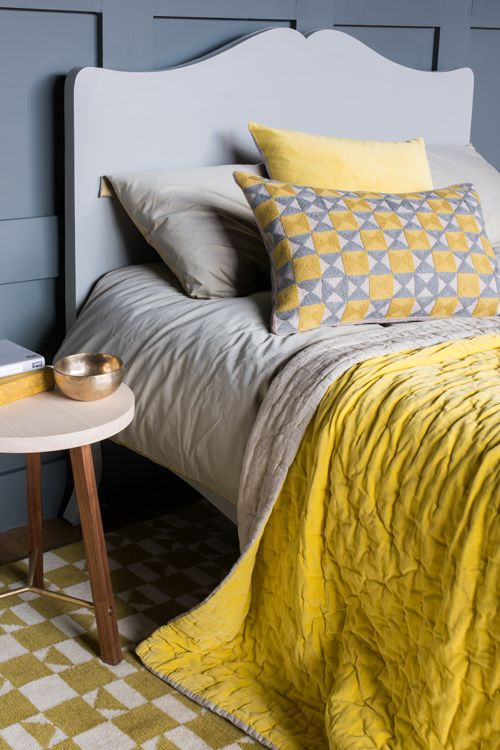 Zelij Cushion Ash Grey & Chartreuse with Velvet Linen Bedspread Chartreuse