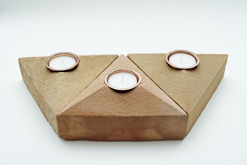 Sand Cast Brick Tea Light Holder - Set of 3 by Lane