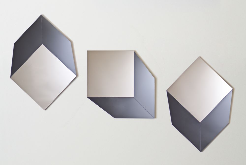 Cube mirror in Grey and Silver hung in three ways
