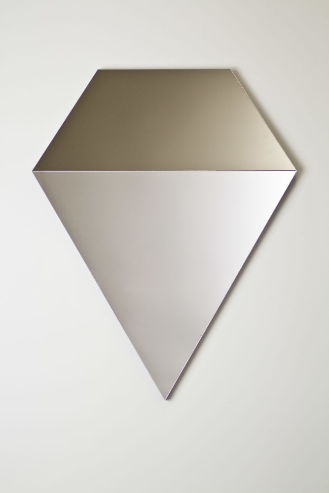 Geometric Prism mirror in silver and bronze
