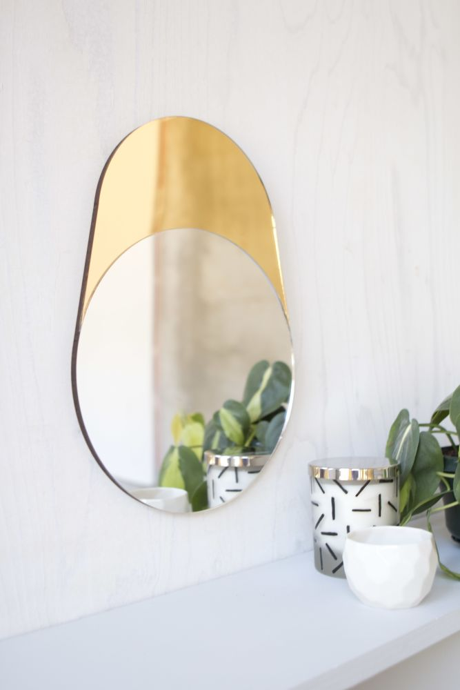 Gold and Silver Cylinder mirror dressing table