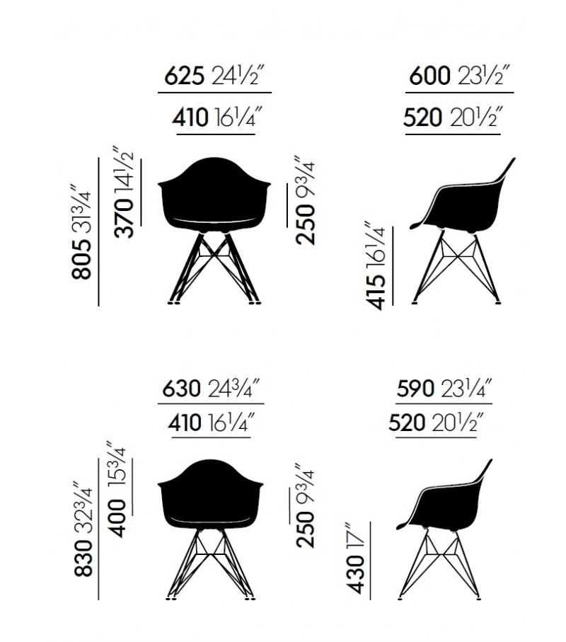 DAR Side Chair with Seat Upholstery by Vitra