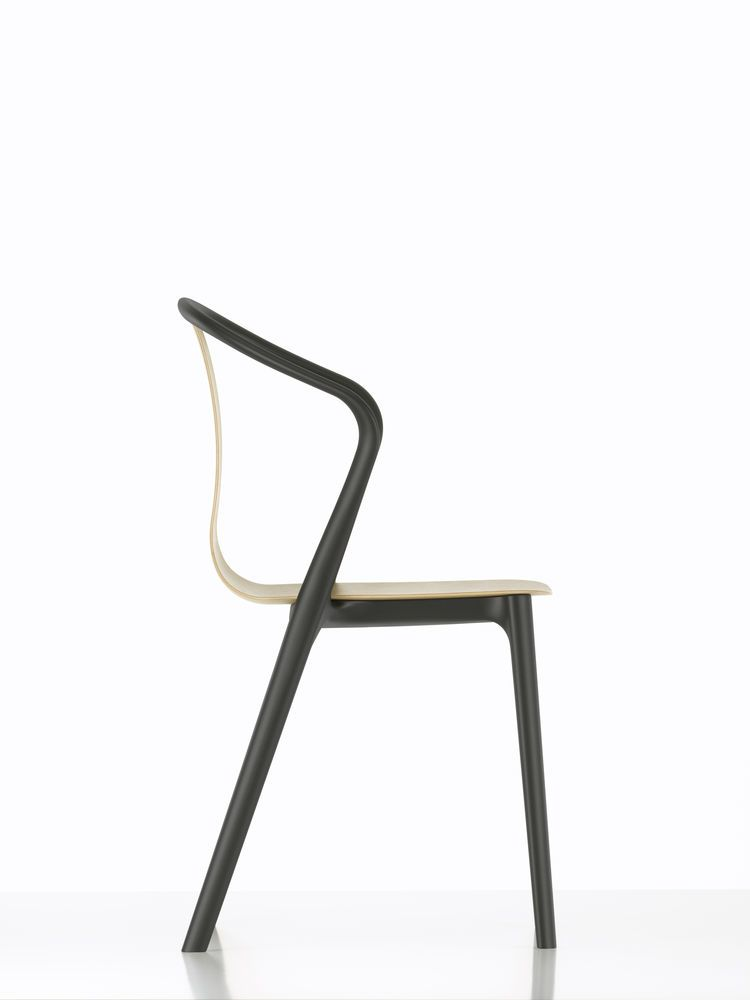 Belleville Armchair with Wood Shell by Vitra