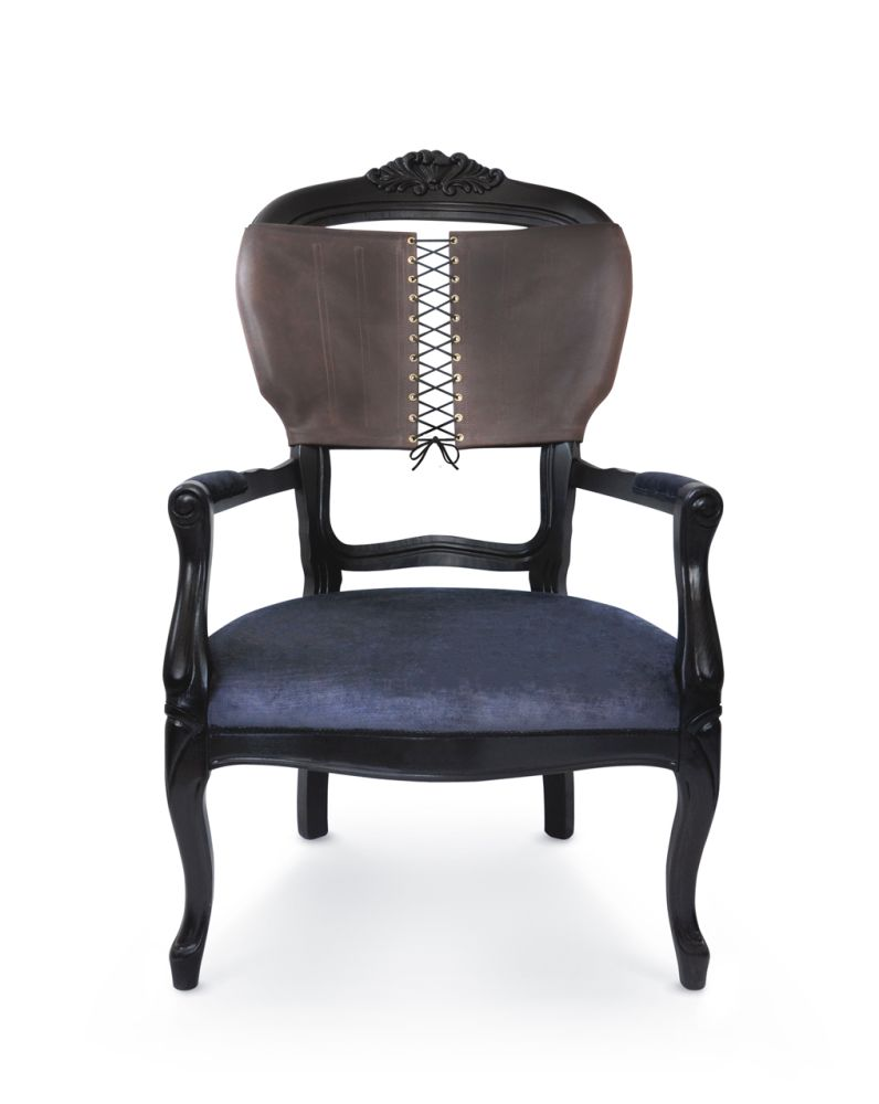 Corset Chair - Brown Leather back charcoal velvet seat