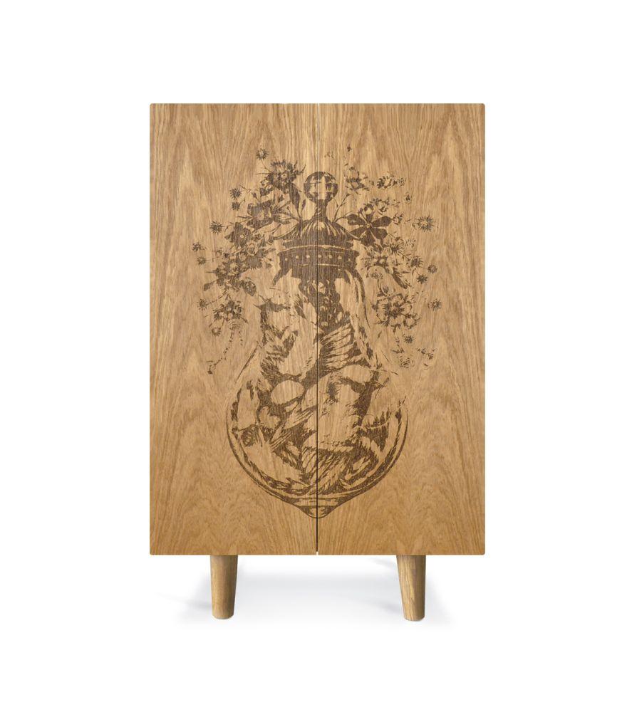 Oak Ornithological Sketch Cabinet