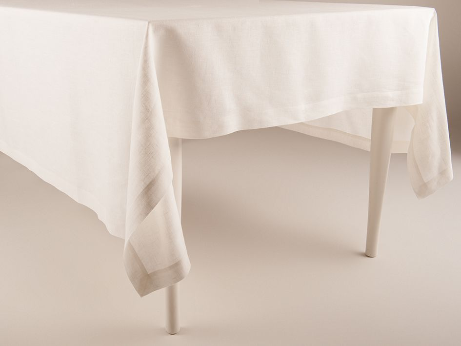 Off white linen tablecloth by Lovely Home Idea