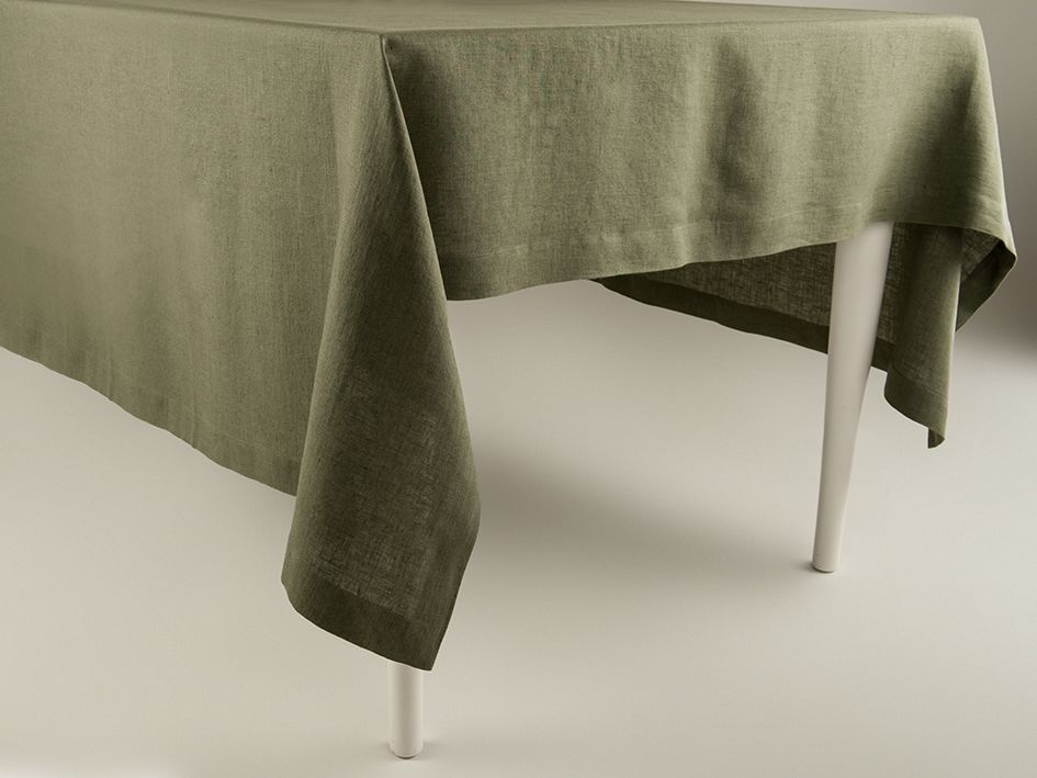 Moss green linen tablecloth by Lovely Home Idea