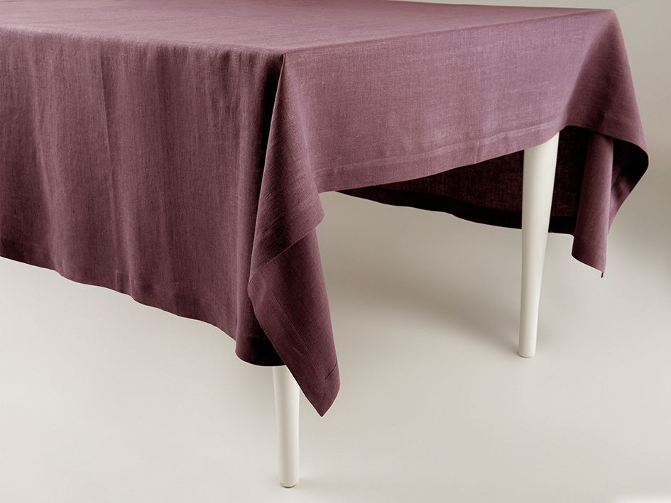 Eggplant linen tablecloth by Lovely Home Idea