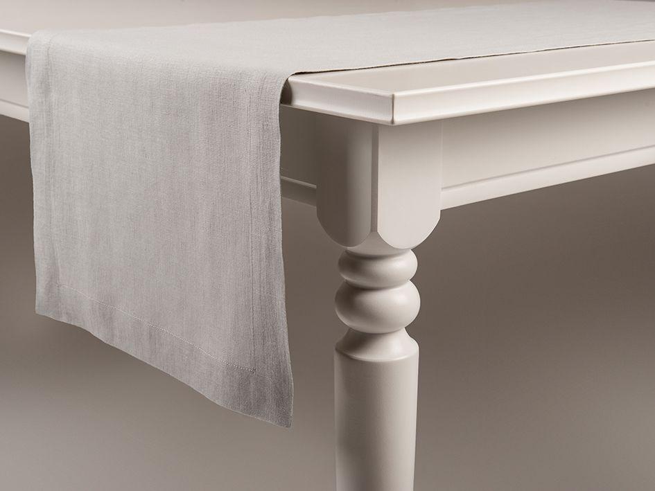 Dove grey linen table runner by Lovely Home Idea