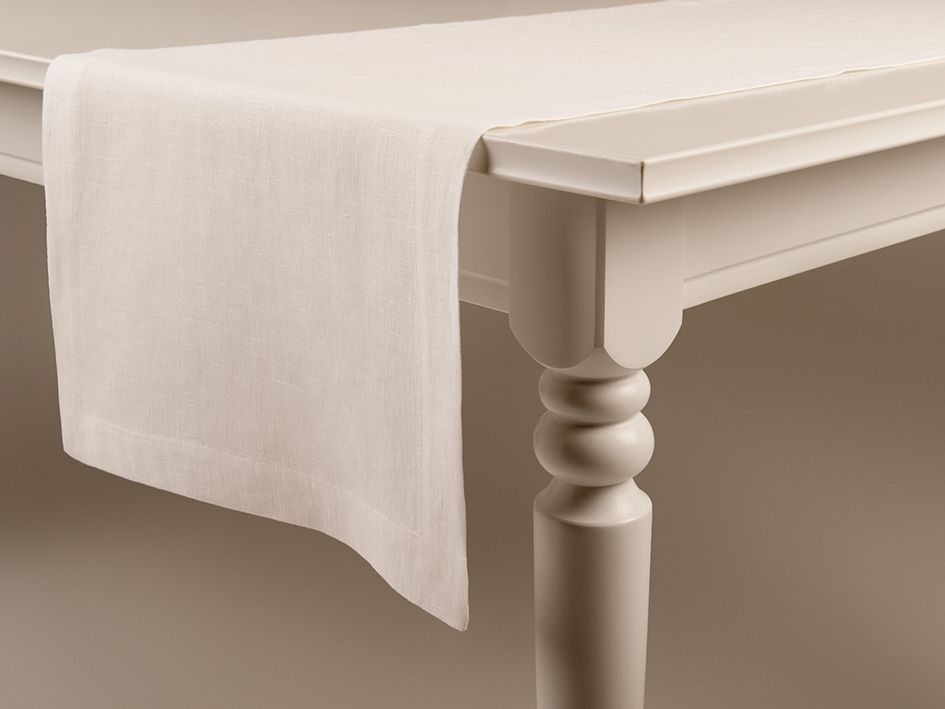 Off white linen table runner by Lovely Home Idea