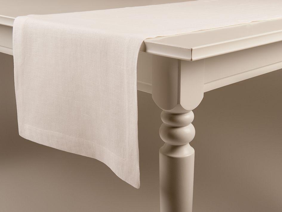 Off white linen table runner by Lovely Home Idea
