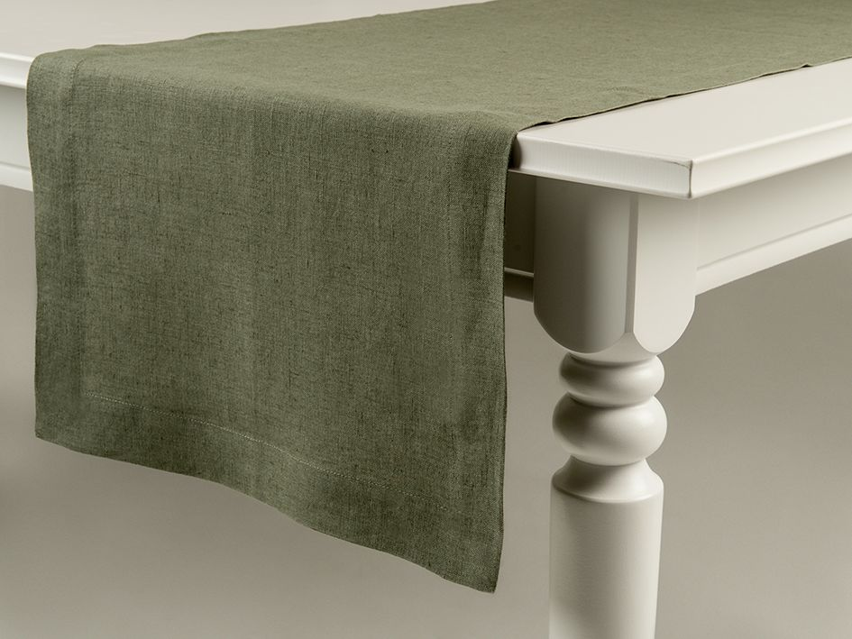 Moss green linen table runner by Lovely Home Idea