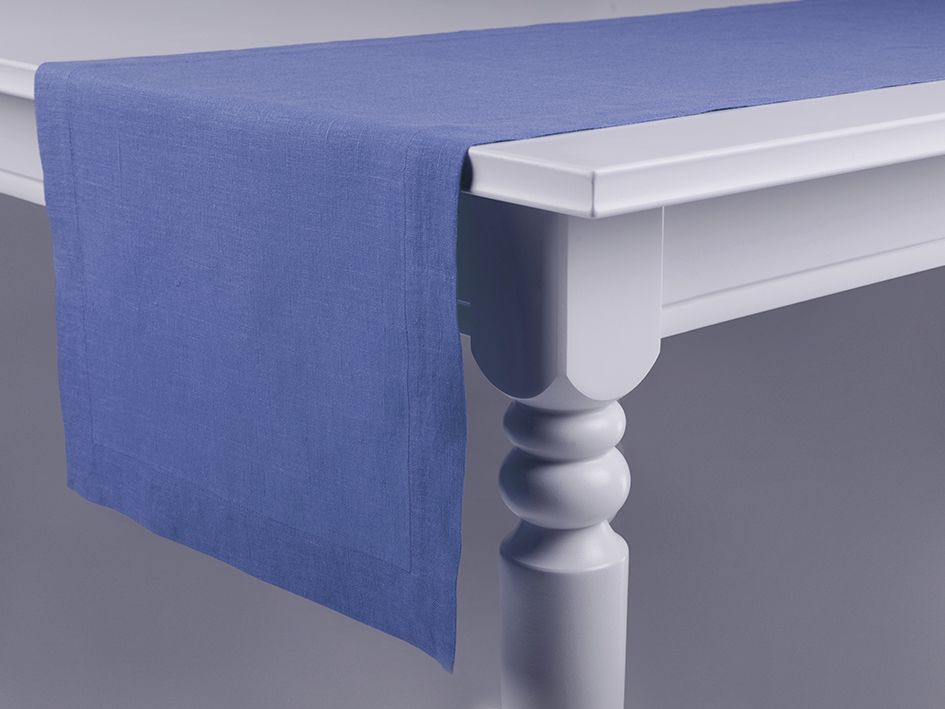 Serenity blue linen table runner by Lovely Home Idea