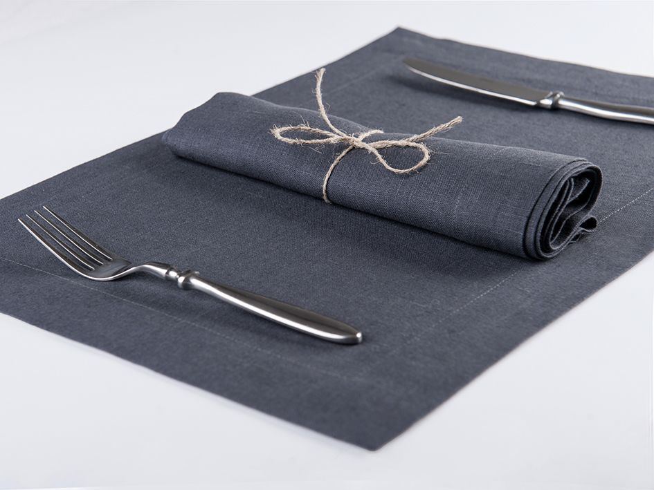 Charcoal linen table napkin and placemat