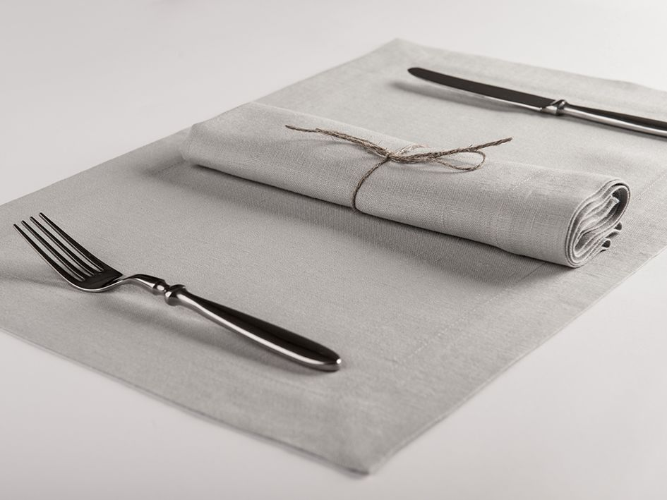 Dove grey linen table napkin and placemat