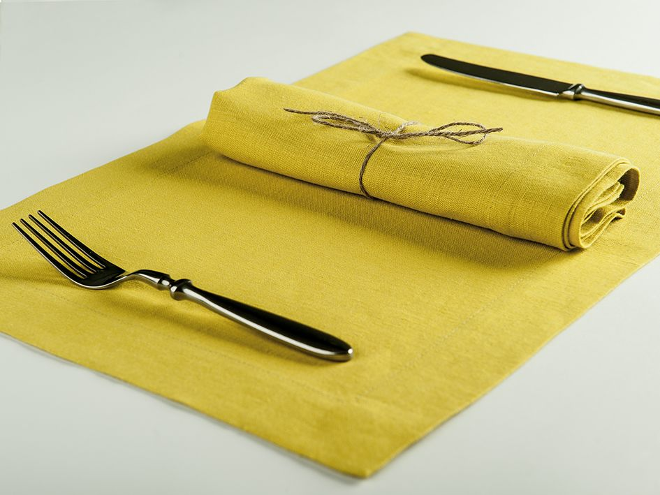 Mustard linen table napkin and placemat