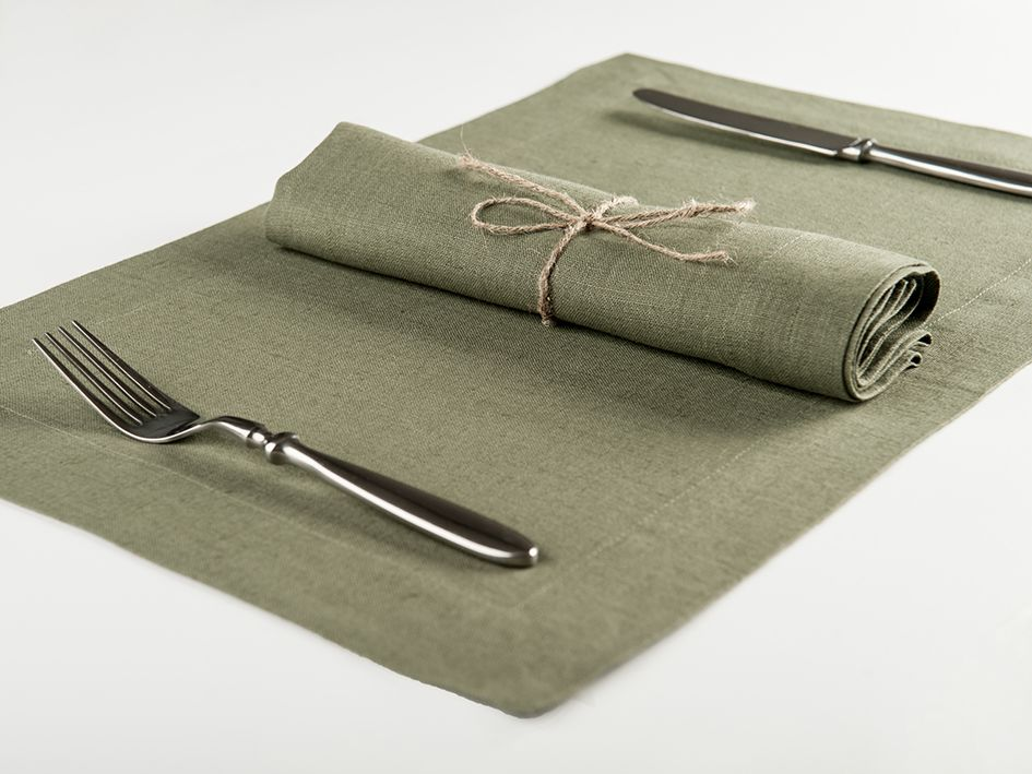 Moss green linen table napkin and placemat