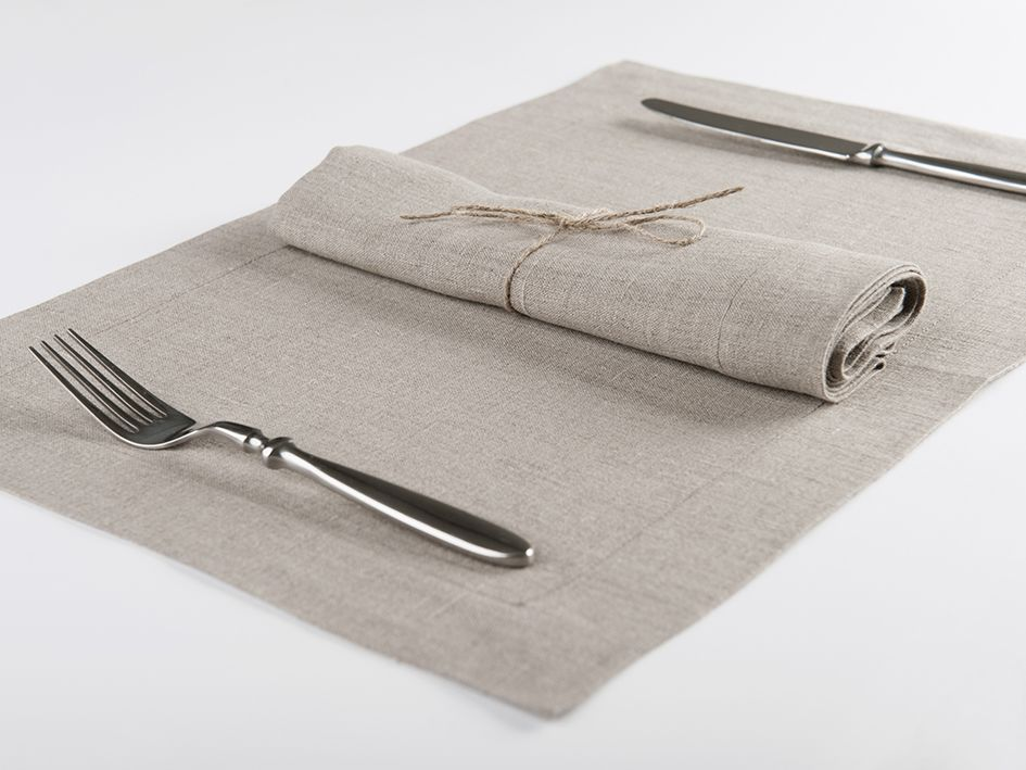 Flax grey linen table napkin and placemat