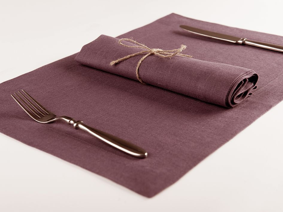Eggplant linen table napkin and placemat
