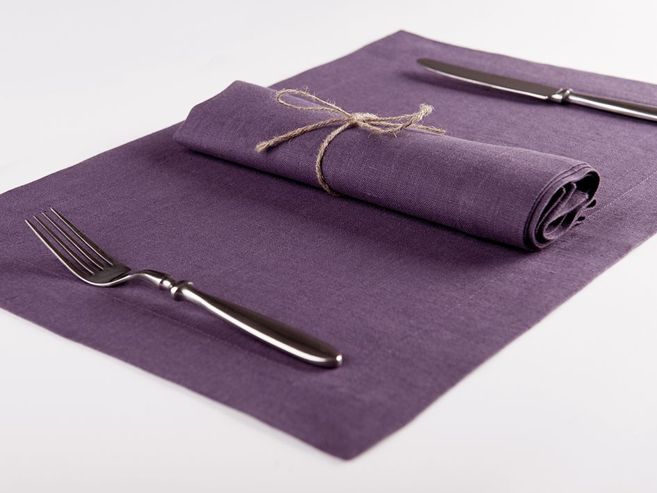 Violet linen table napkin and placemat
