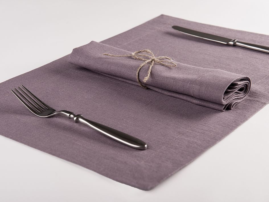 Light purple linen table napkin and placemat