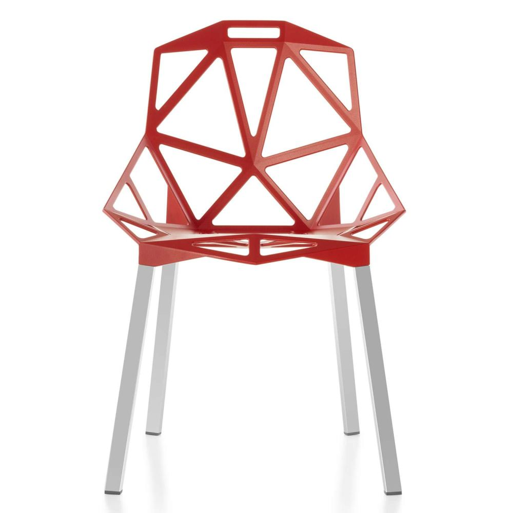Chair One - Stacking, Set of 2 Red, Anodised Aluminium by Magis Design